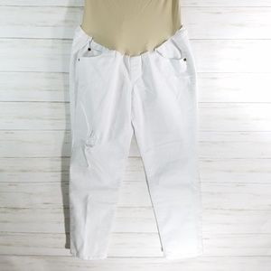 aglow maternity pants white denim cropped size 12
